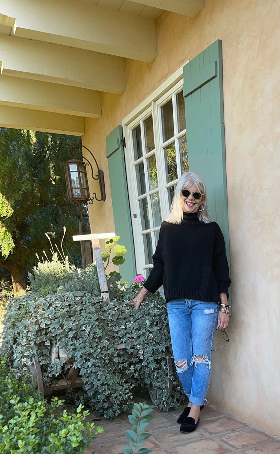 cindy hattersley in H&M jeans and black mockneck