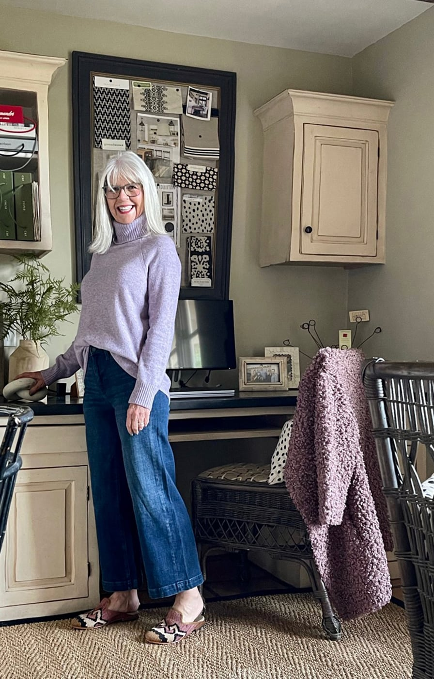 cindy hattersley in j crew sweater and banana republic jeans & artemis mules in her office
