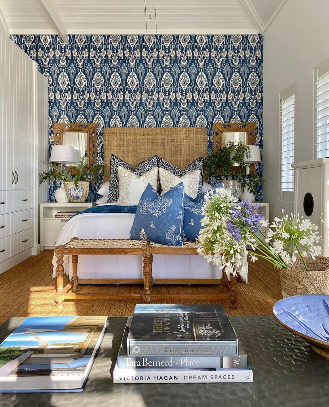sue bond bedroom in her Thesans Island Retreat
