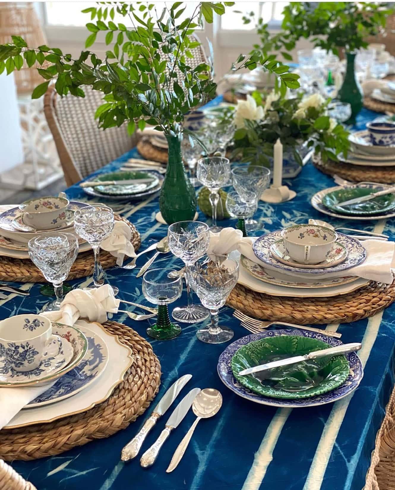 sue bond blue tablescape