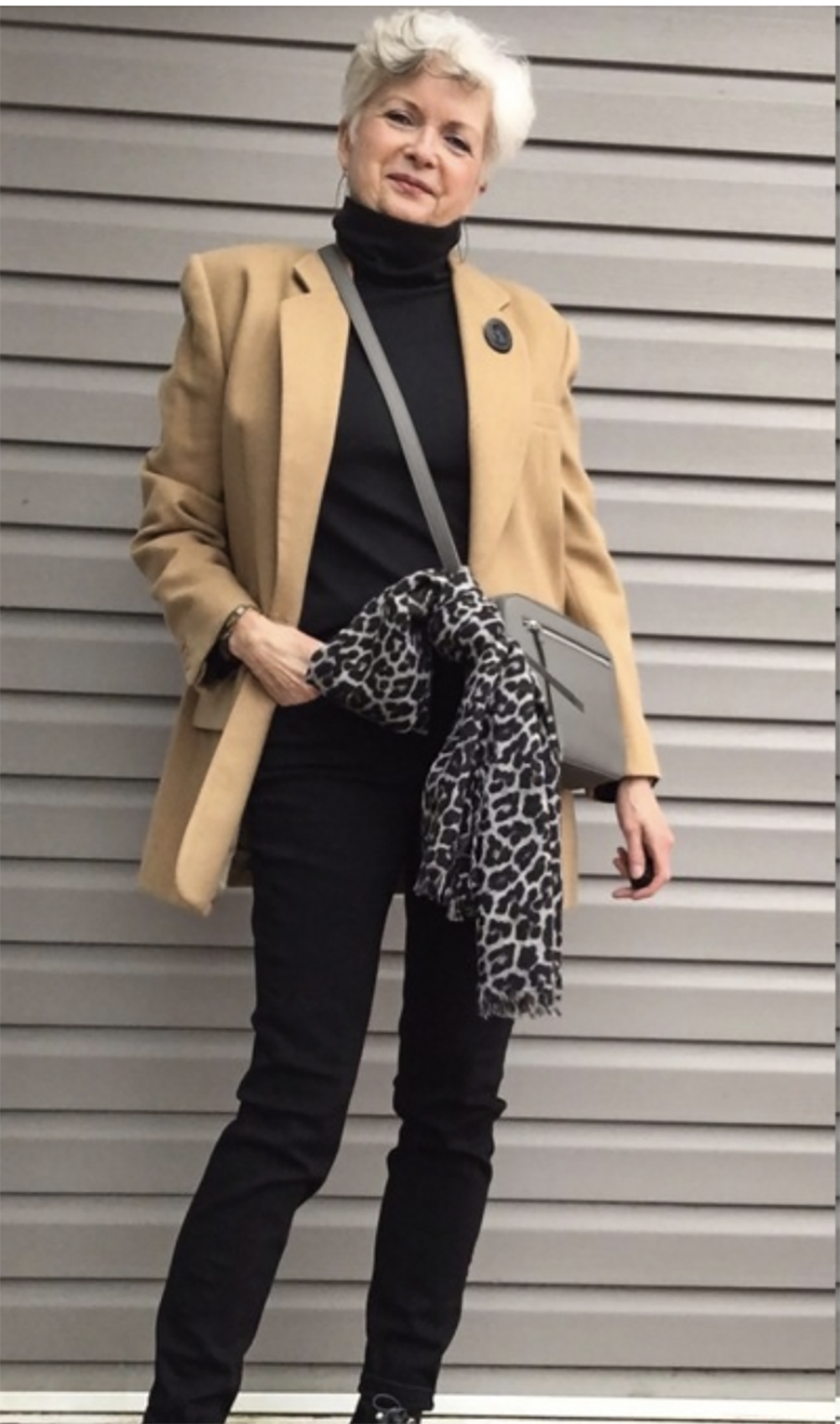 sue burpee in camel blazer and black jeans