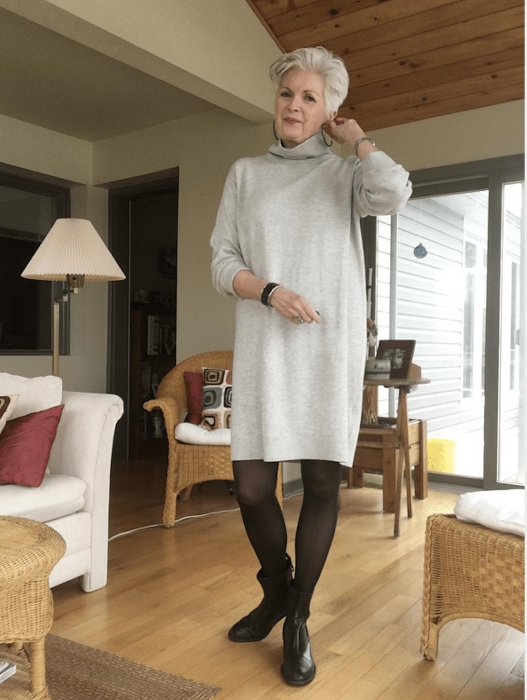 sue burpee in sweater dress on Cindy Hattersley's blog