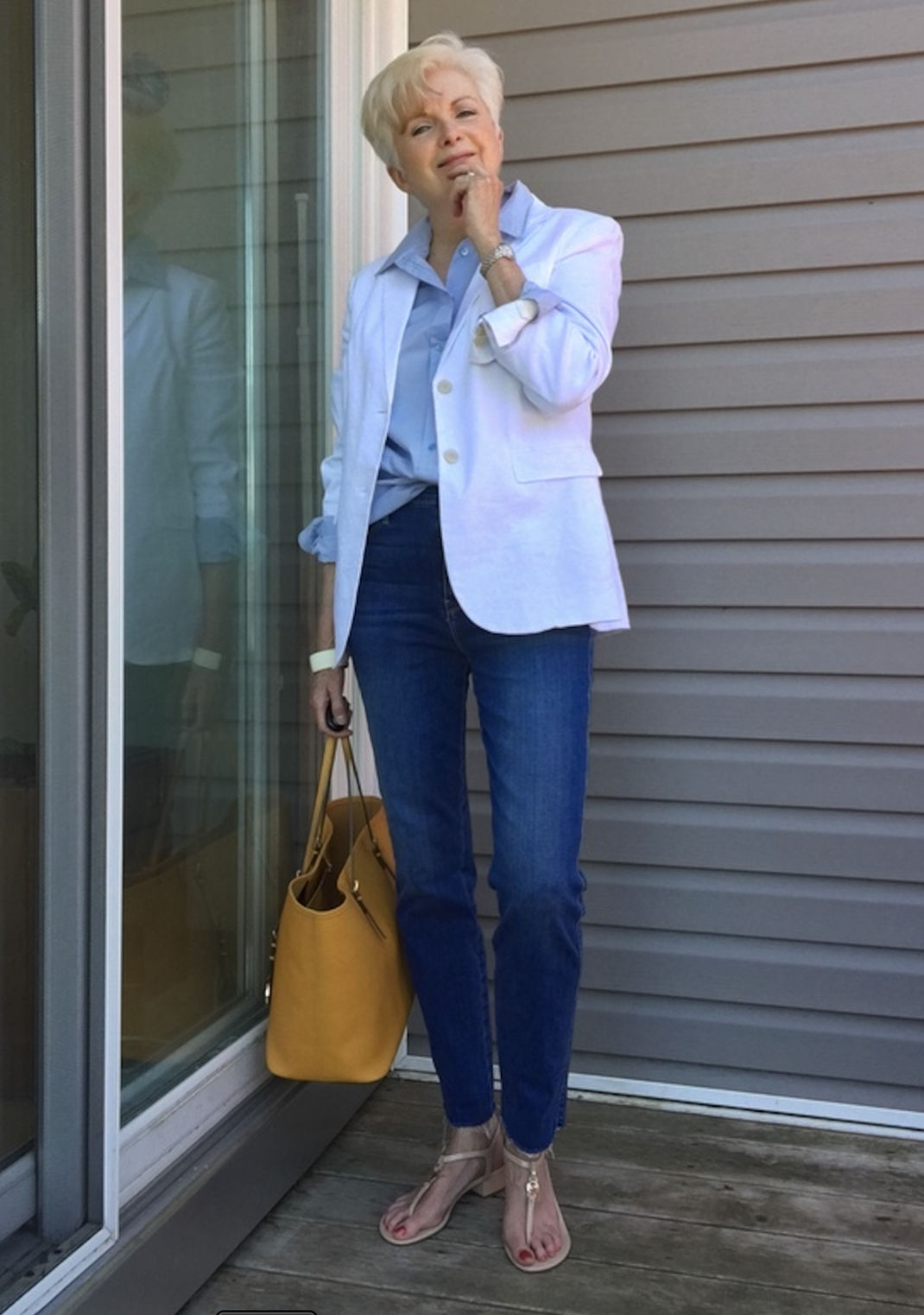 sue burpee in white blazer for Ageless Style with Cindy Hattersley