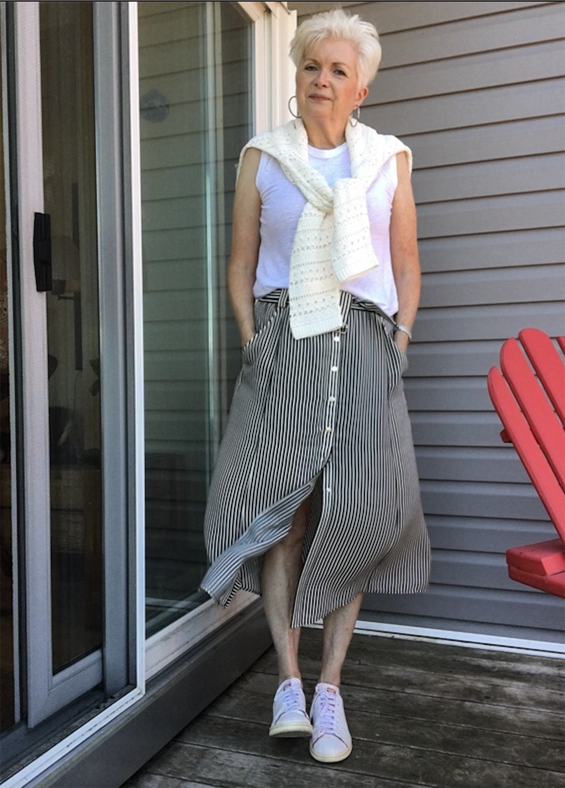 sue burpee in white tee for Ageless Style with Cindy Hattersley