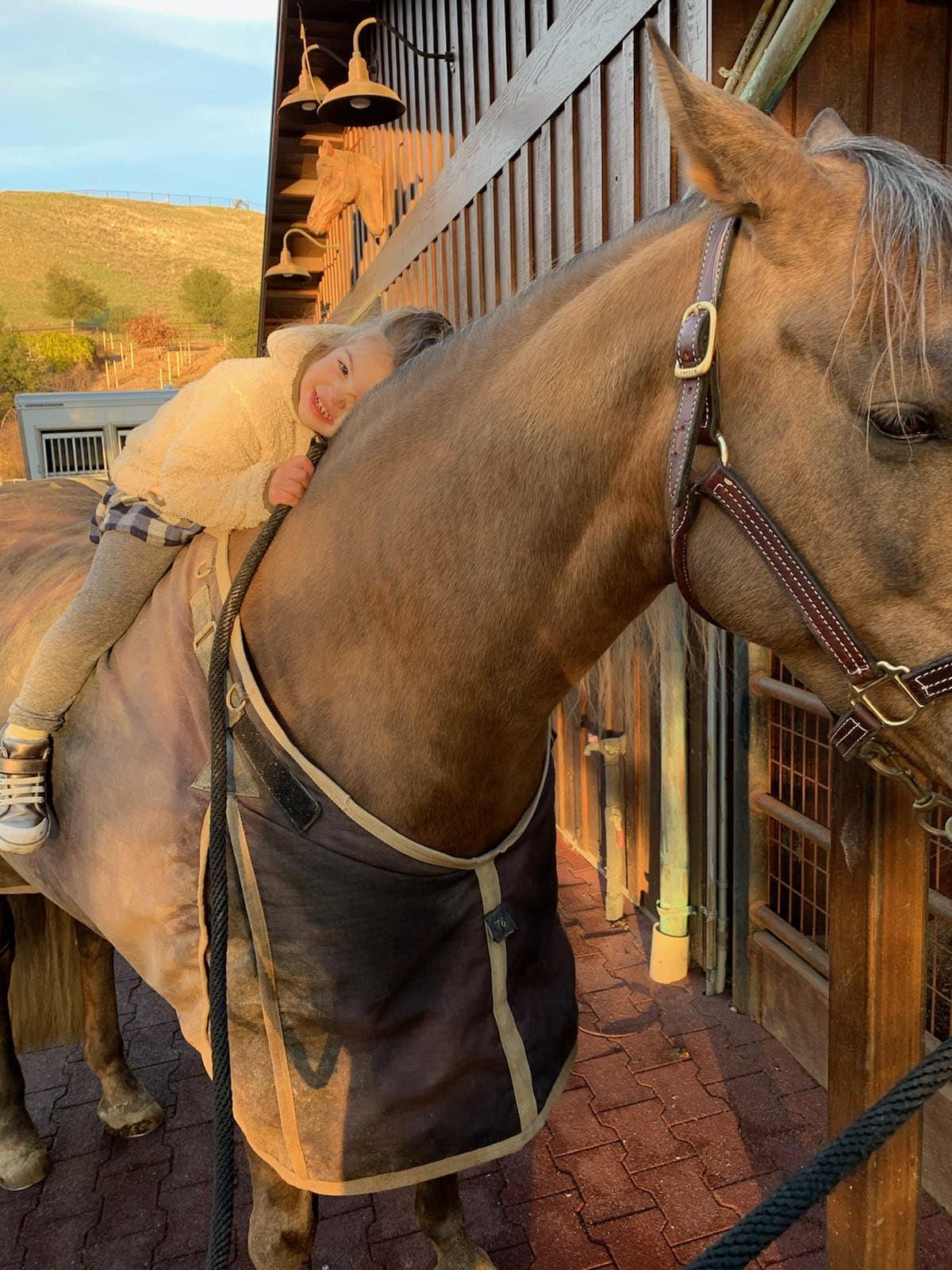 Cindy Hattersley's granddaughter hugging horse 2021