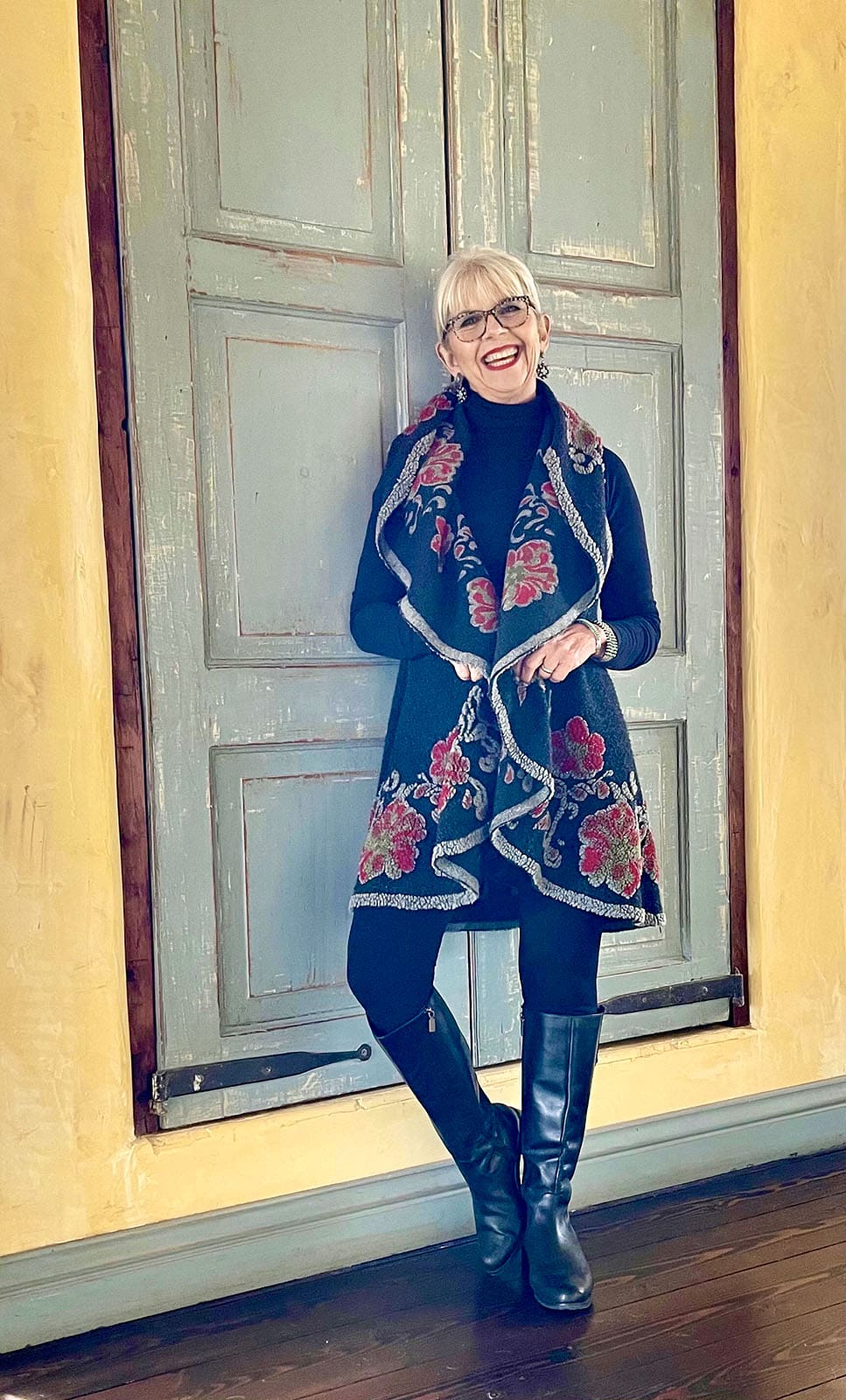 Cindy Hattersley in floral vest