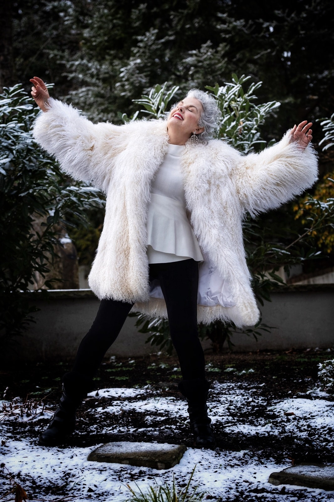 Kerry Lou in shaggy jacket on Cindy Hattersley's blog for Ageless Style