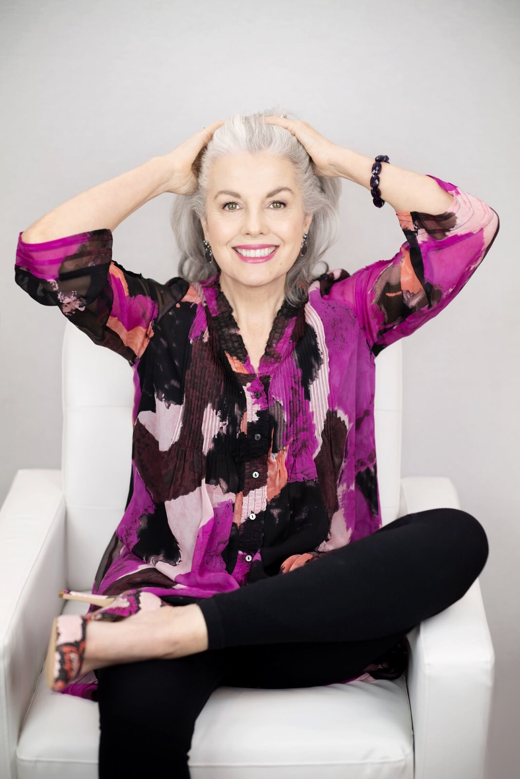 Kerry Lou in Lavender Mosaic shirt on Cindy Hattersley's blog for Ageless Style