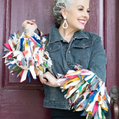 Kerry Lou in embellished jean jacket on Cindy Hattersley's blog for Ageless Style