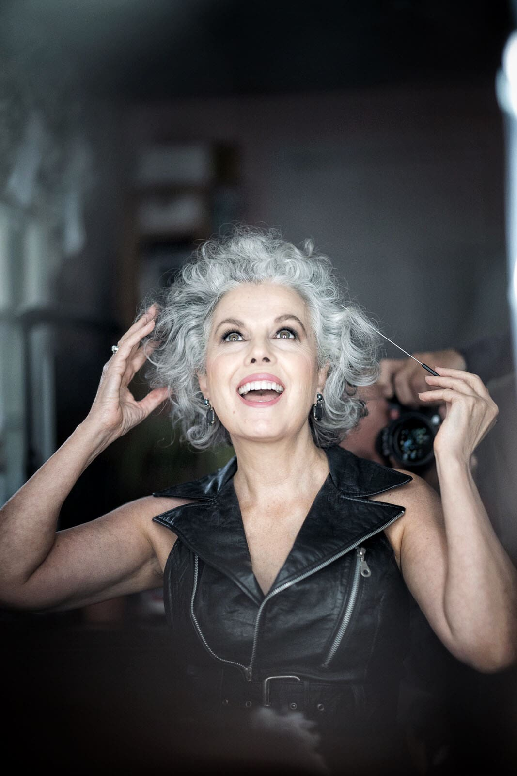 Kerry Lou in Black Leather for Ageless Style on Cindy Hattersley's blog