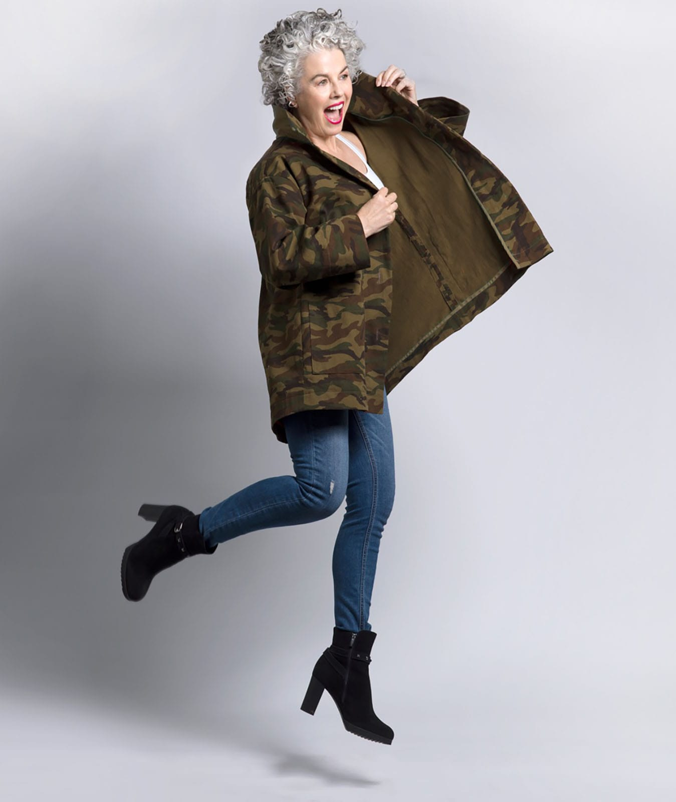 Kerry Lou in Camo Jacket and boots on Ageless Style with Cindy Hattersley