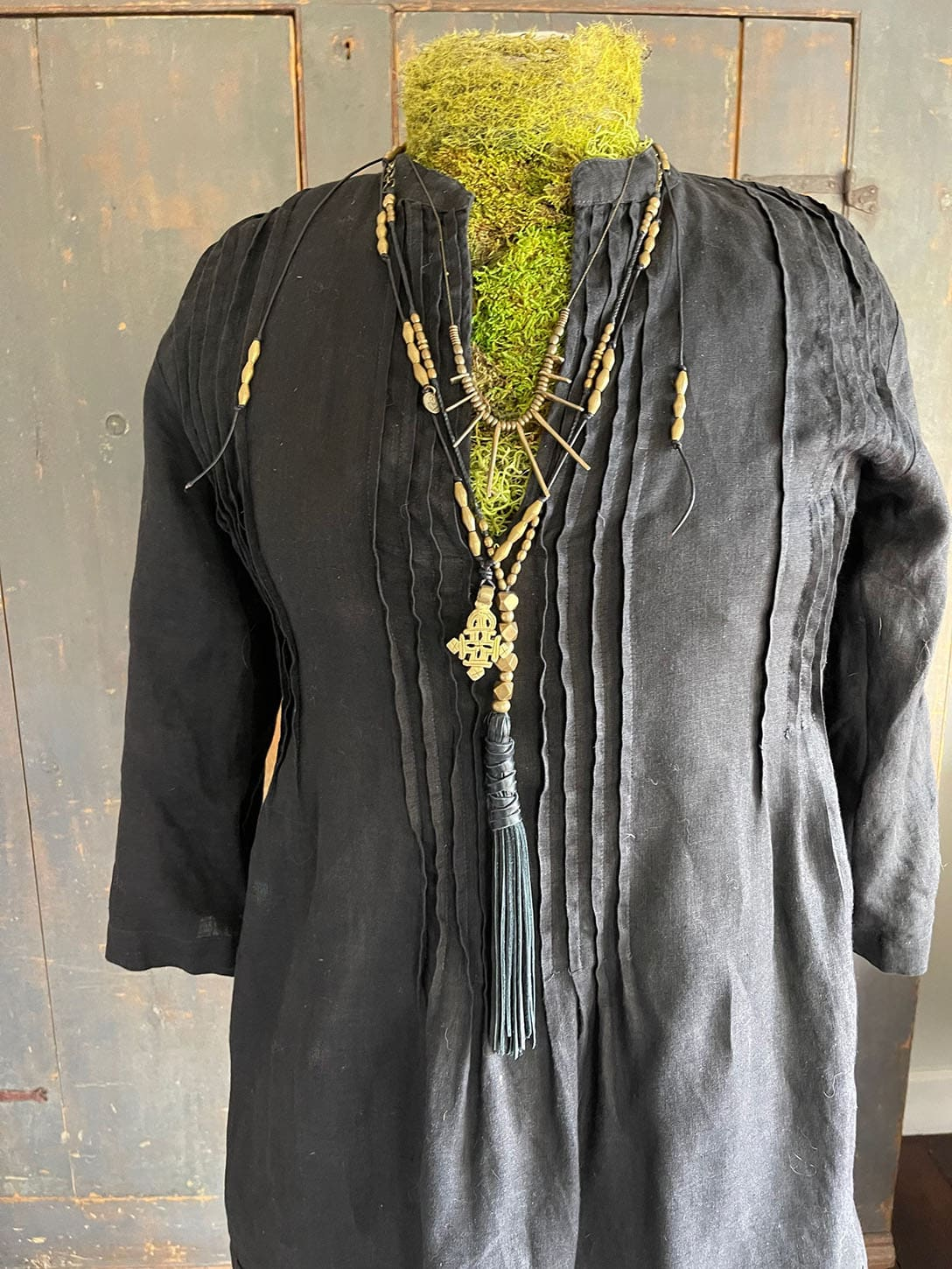 Black and brass layering necklaces on Cindy Hattersley's blog