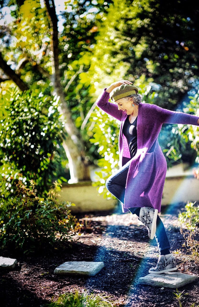 kerry lou in purple sweater on cindy hattersley's blog for Ageless Style