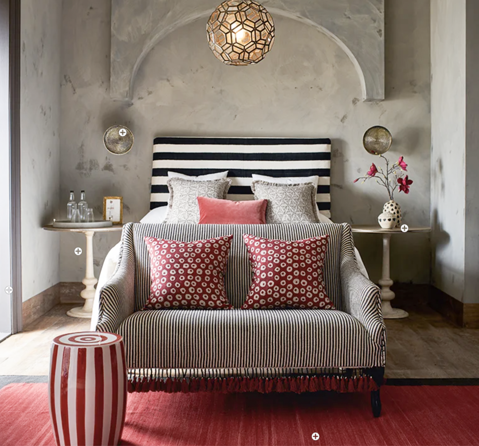 oka red and black bedroom on cindy hattersley's blog