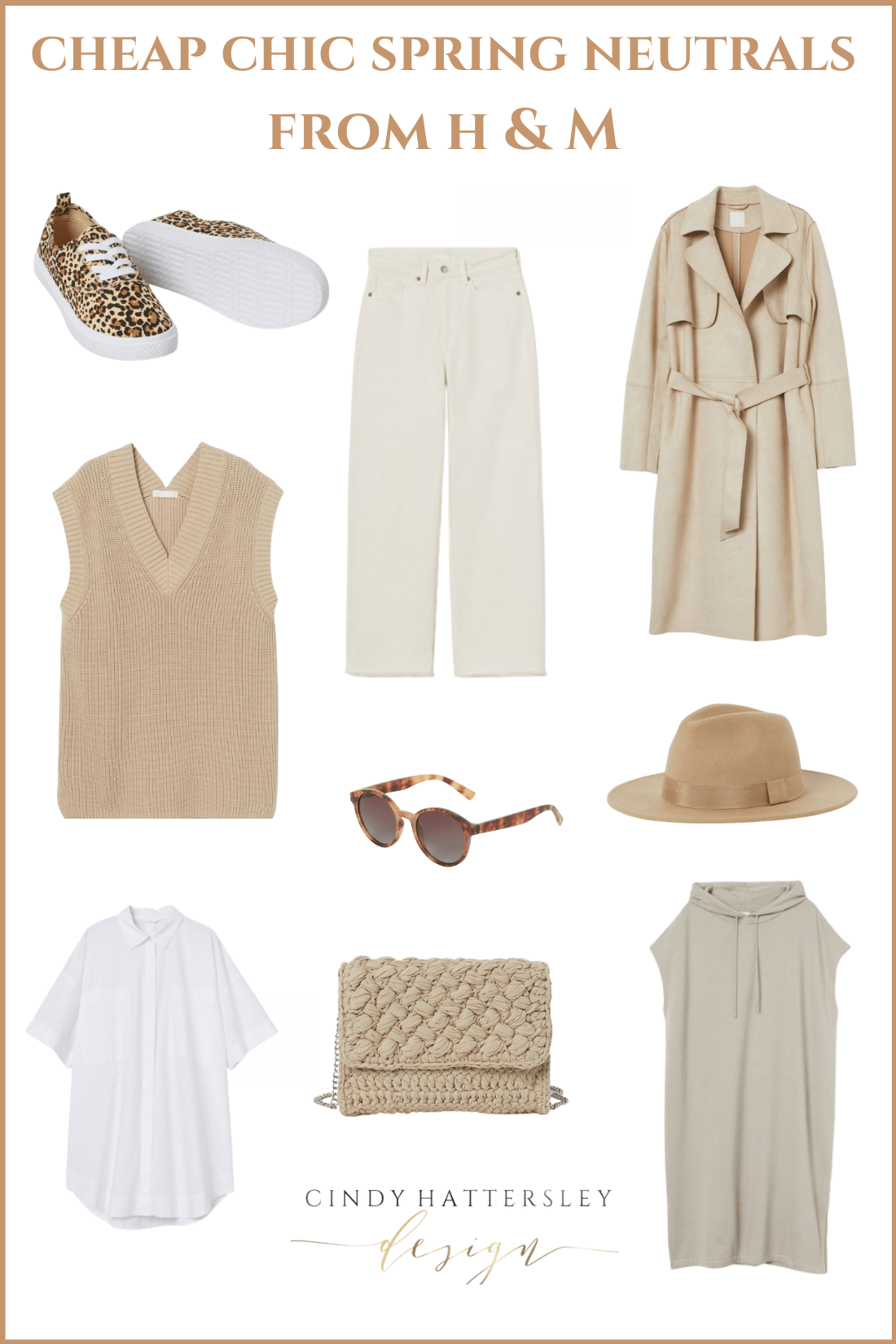 cheap chic neutrals from H&M outfit of the week Cindy Hattersley