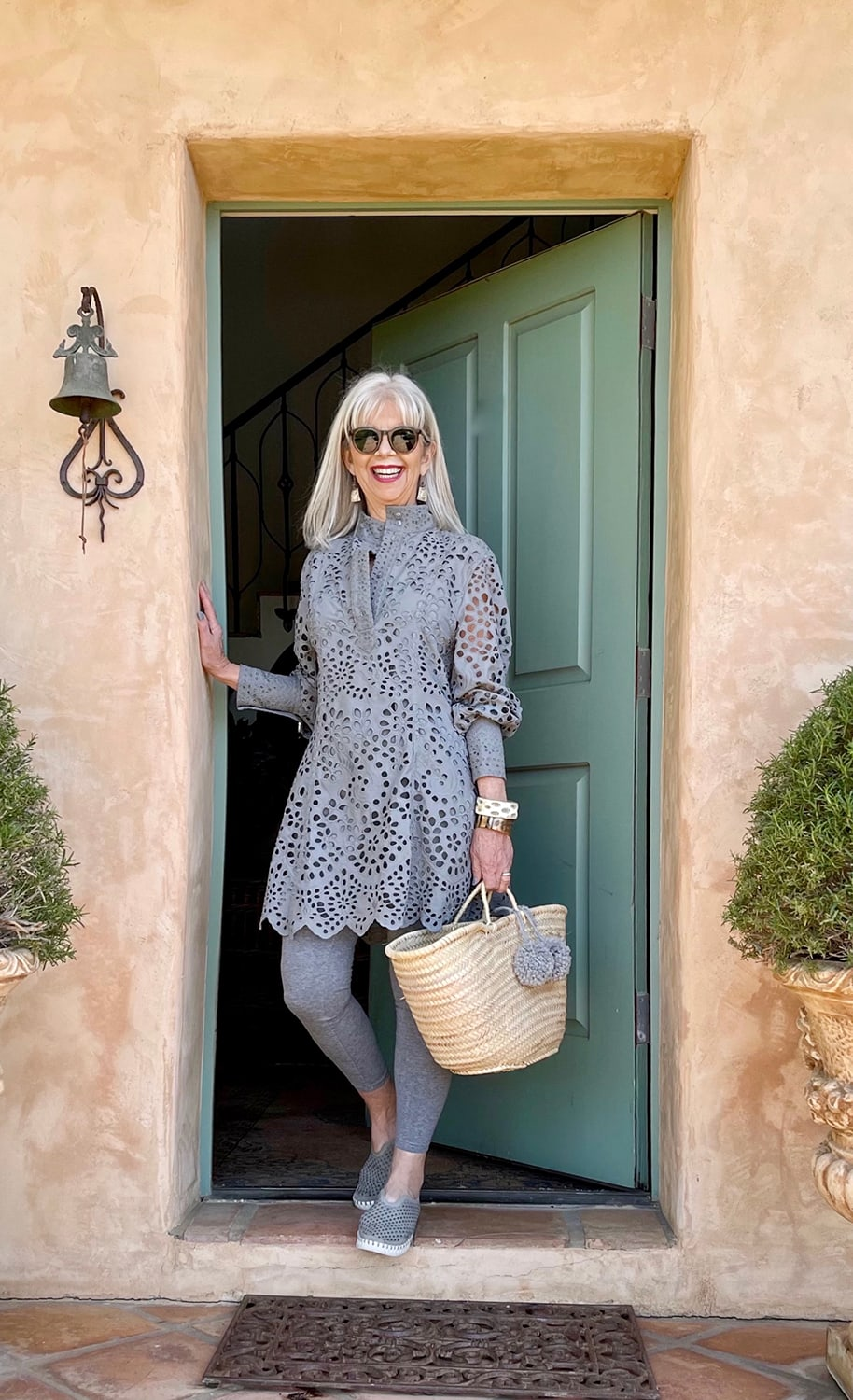 cindy hattersley in H&M eyelet dress, leggings and Ilsa Jacobson tulip