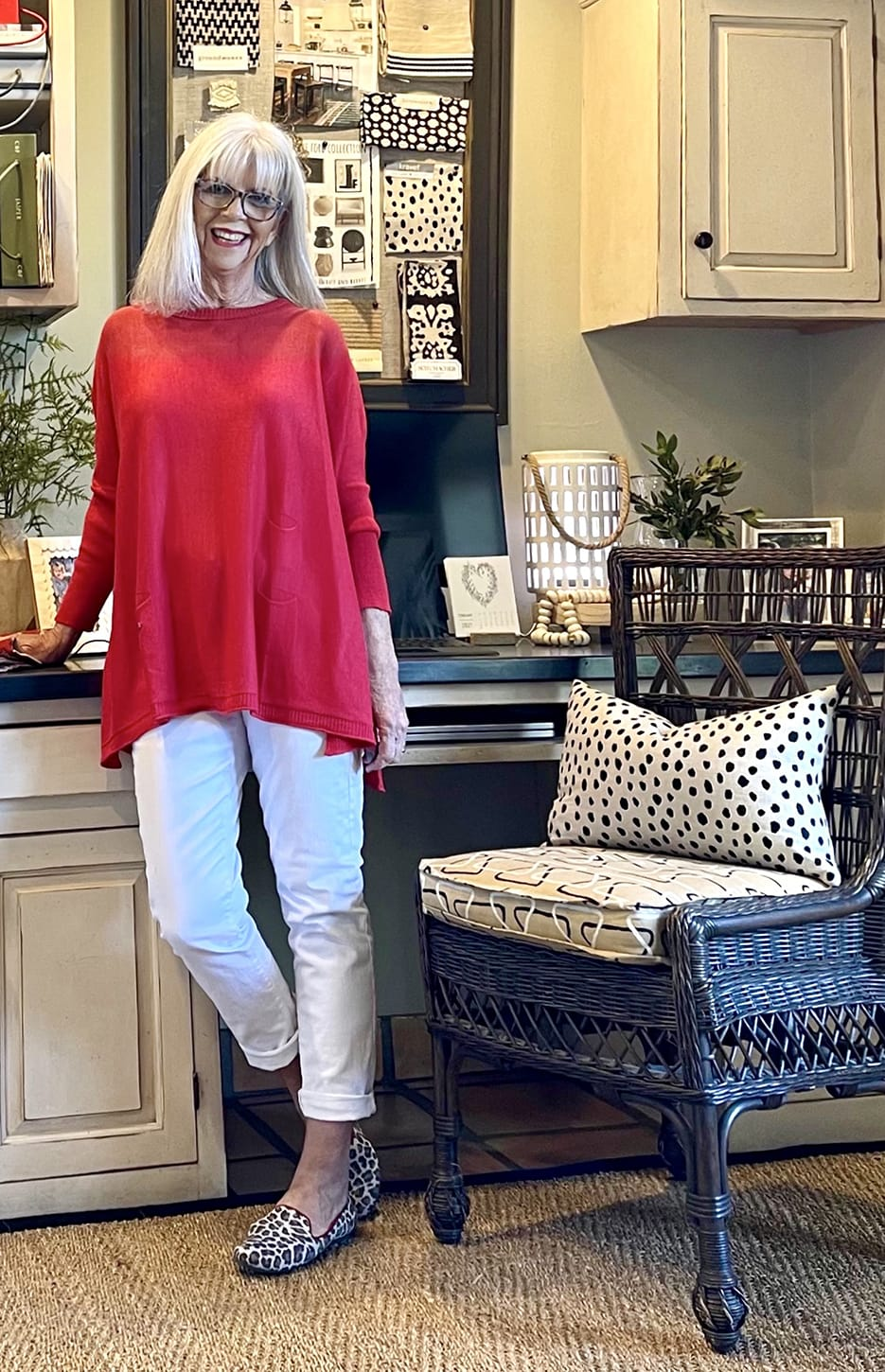 cindy hattersley in mer sea sweater and rothy's leopard loafers