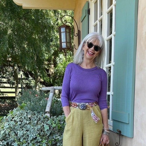 cindy hattersley in michael stars cp shades and artemis raffia mules