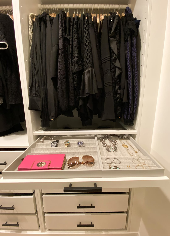 ikea pax racks and jewelry drawer