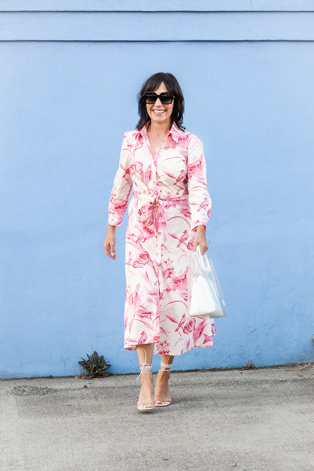 susie wright in pink and white zara shirtdr