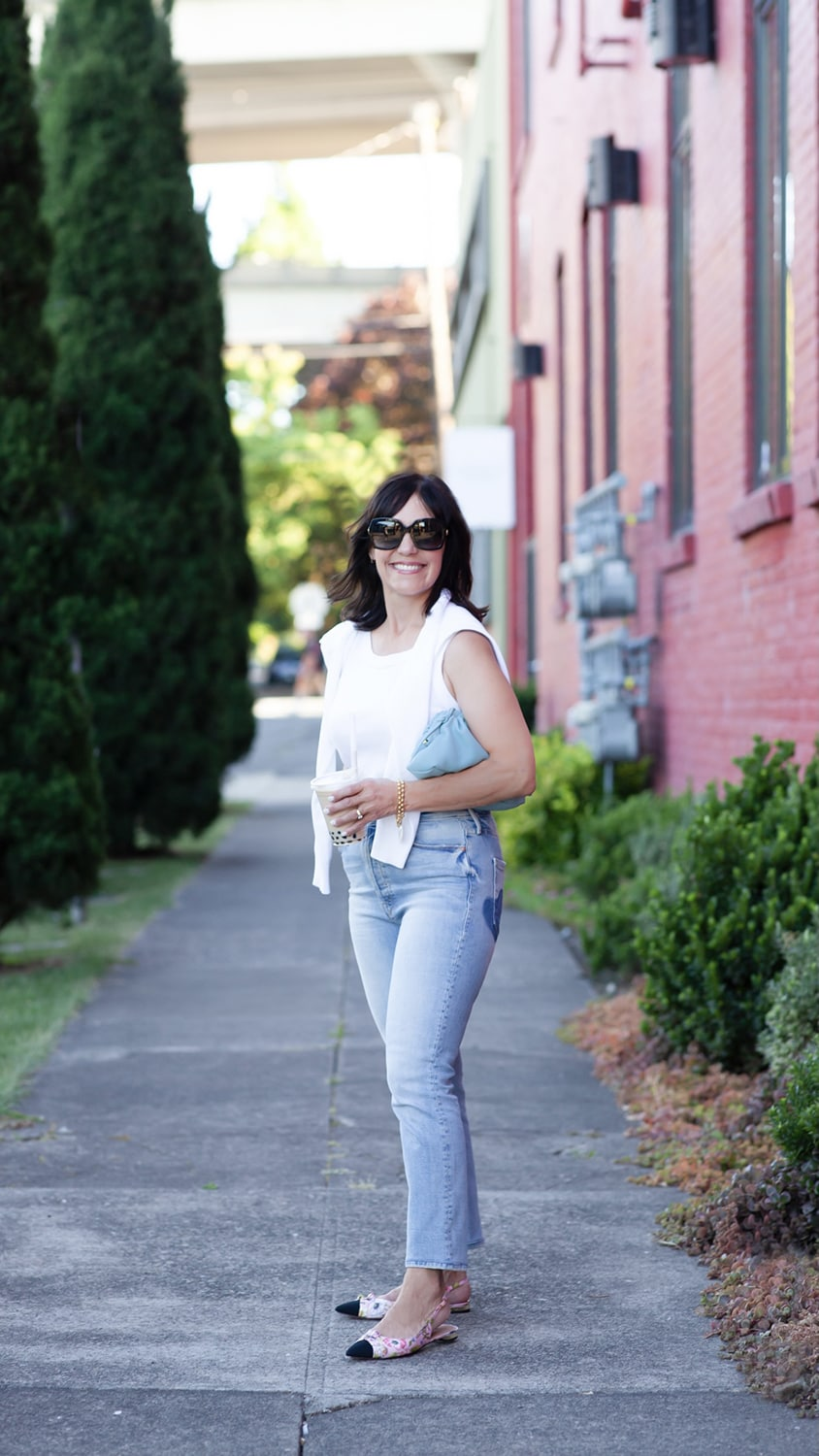susie wright in white tee and jeans