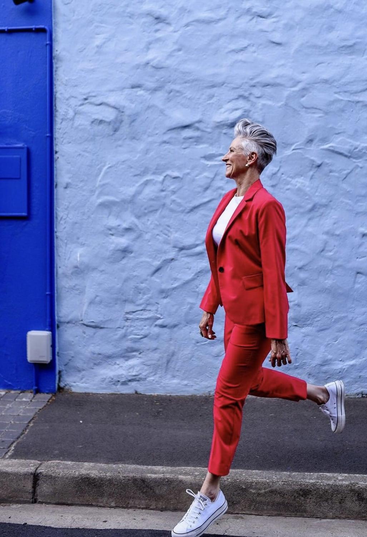 Deborah Darling in Red Pantsuit
