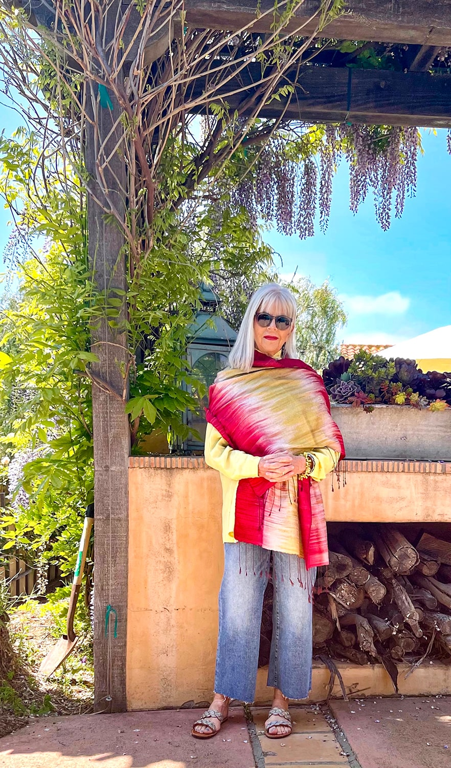 cindy hattersley in silk scarf and Banana Republic Jeans