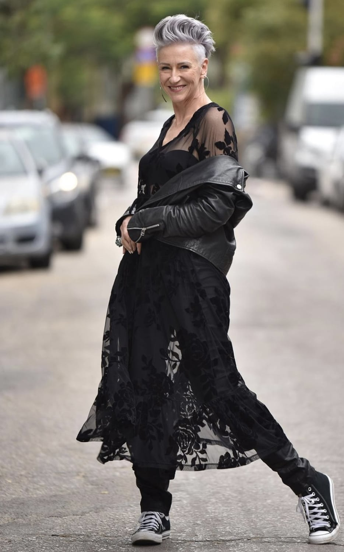 deborah darling in lace dress and biker jacket