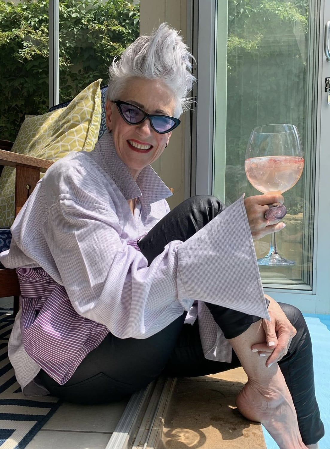 deborah darling with a glass of wine
