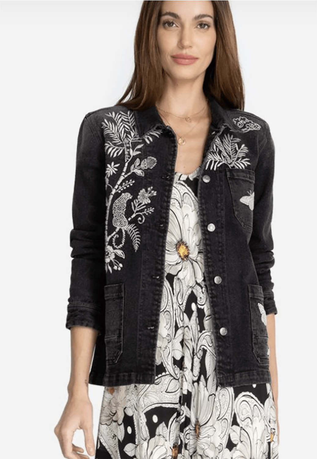 johnny was linen embroidered jacket