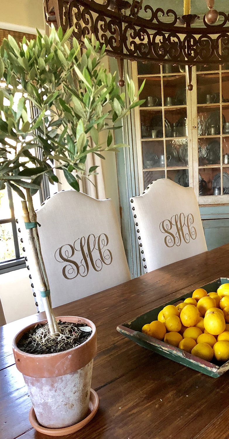 lemons and olive on dining table in Cindy Hattersley's home