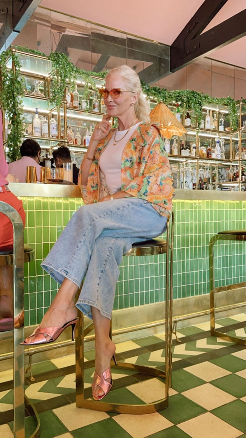 Karen Karlson at bar on Ageless Style with Cindy Hattersley