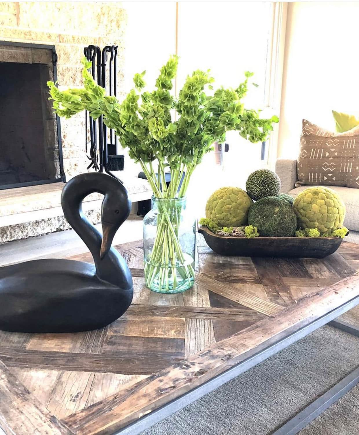 cindy hattersley designed coffee table with bells of Ireland