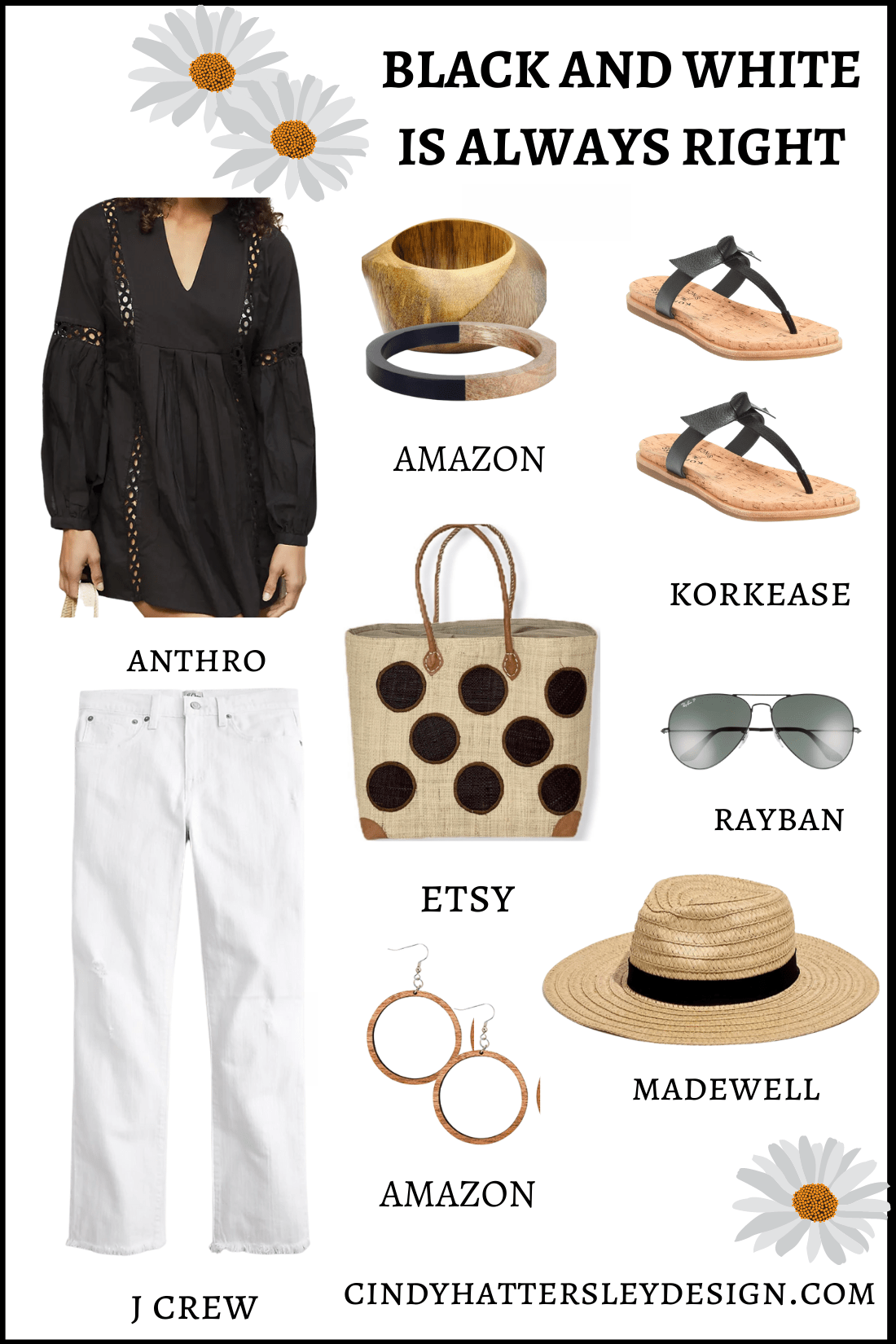 black and white outfit of the week