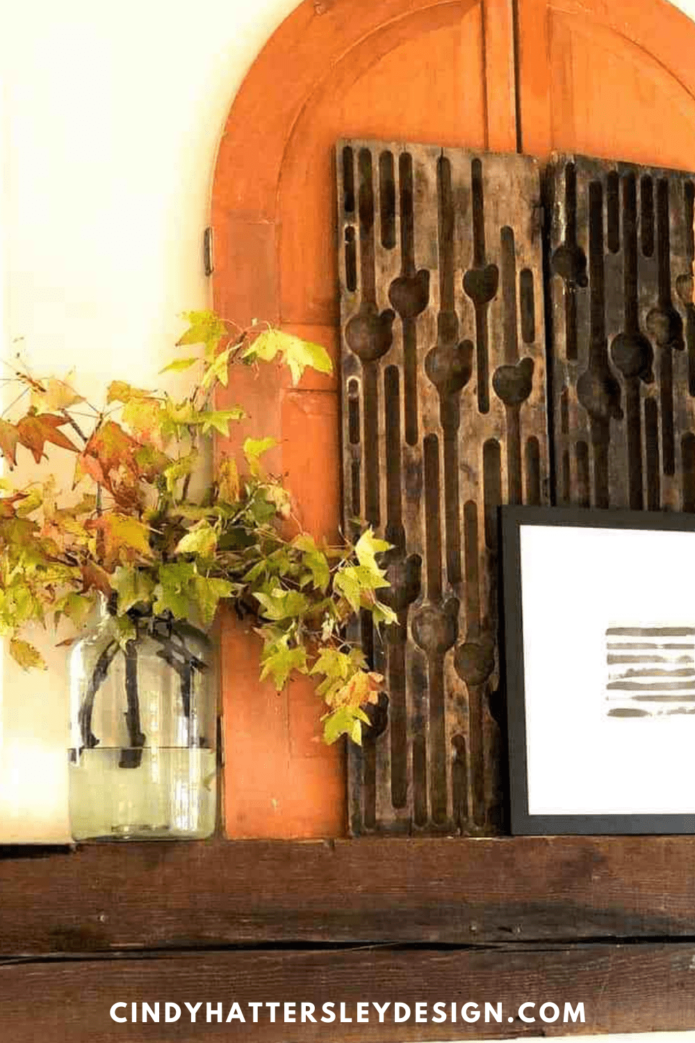fall leaves on cindy hattersley's mantle