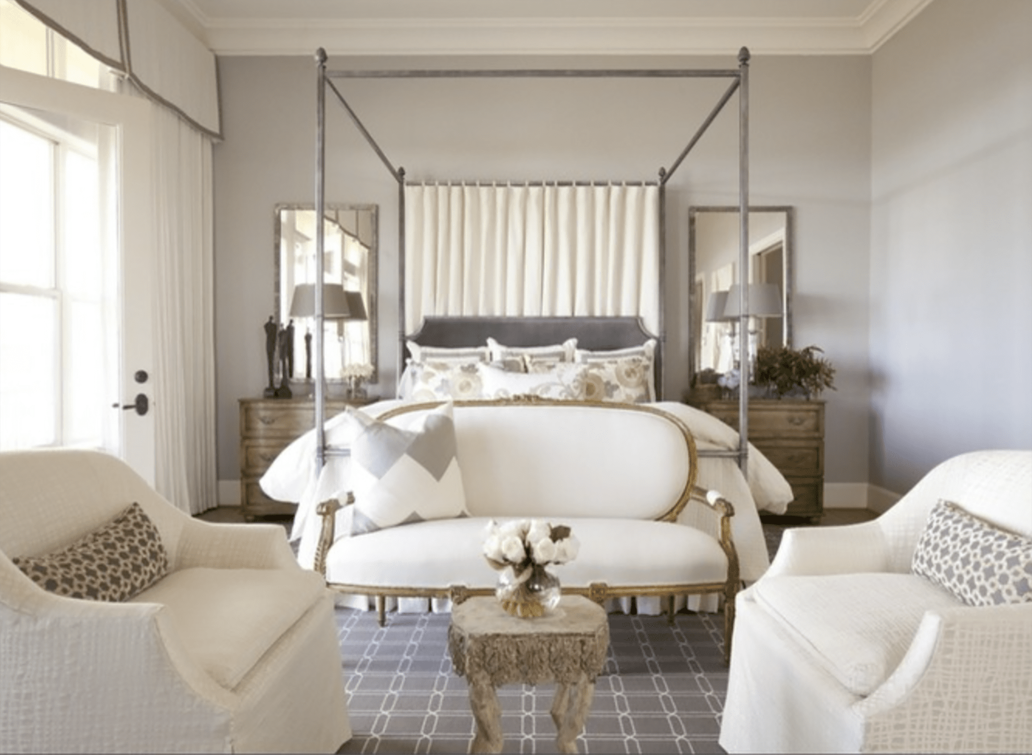 Dodson and Daughter designed bedroom with two mirrors