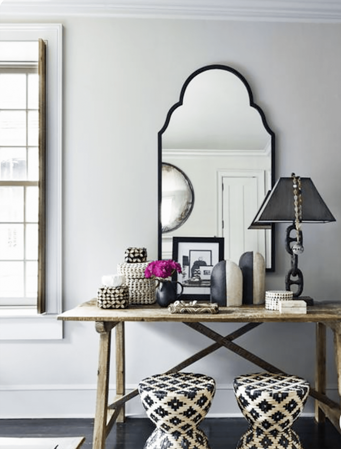 jill sharp weeks console and mirror