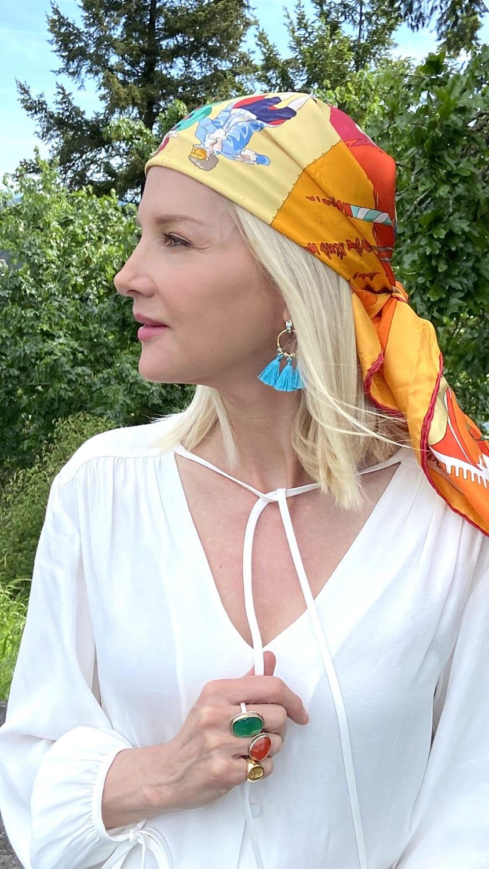 karen karlsen in scarf and tassel earrings FOR AGELESS STYLE