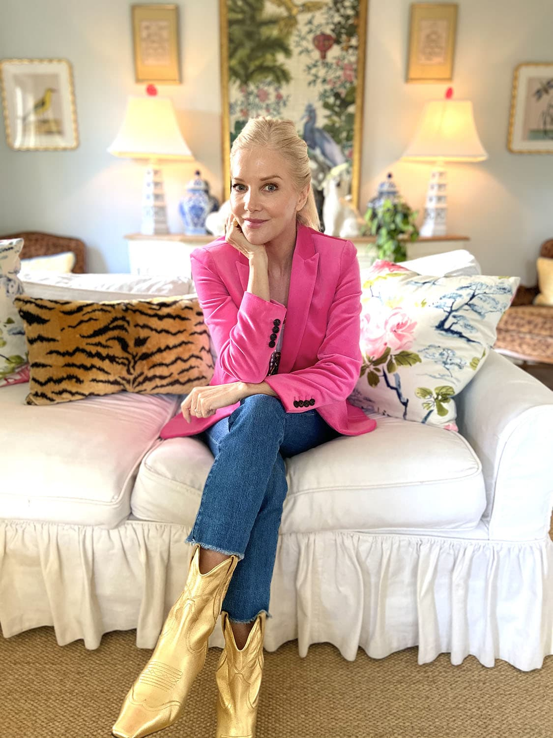karen karlson in pink satin jacket and gold boots on Ageless Style with cindy hattersley