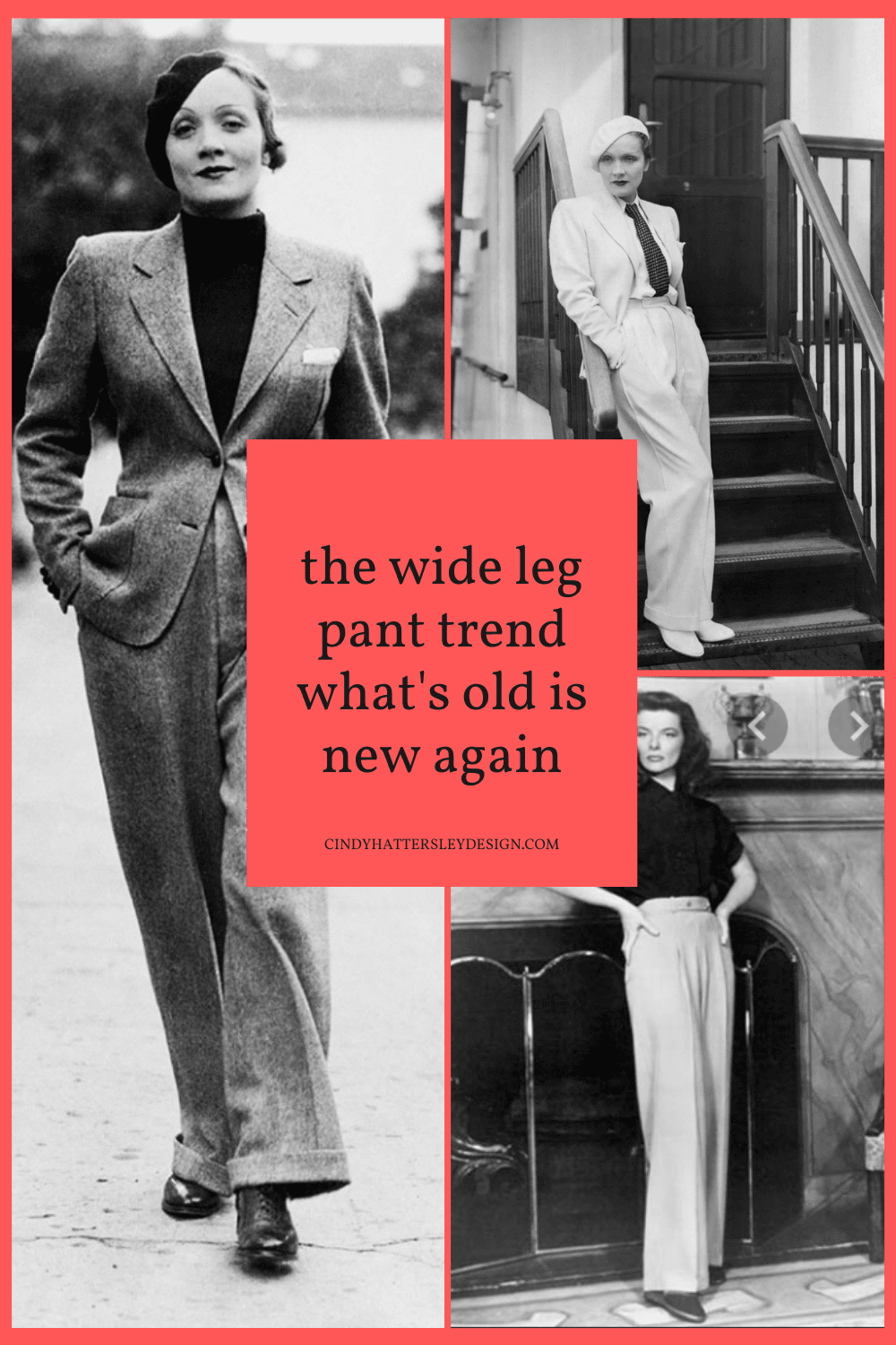 old hollywood wide leg pant trend