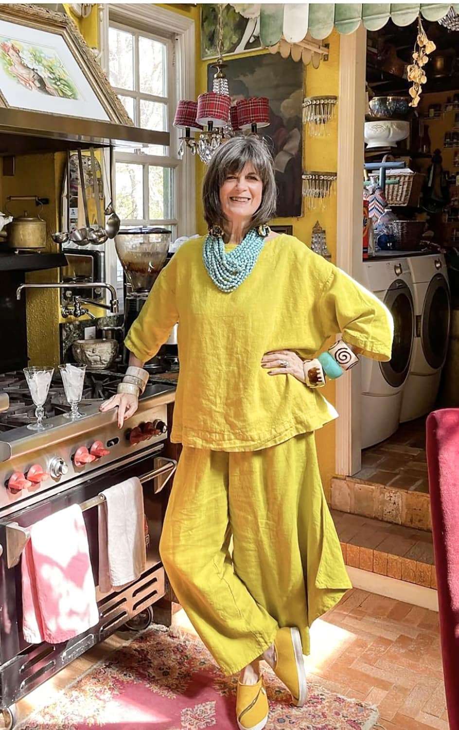 the contessa in yellow wide leg pants