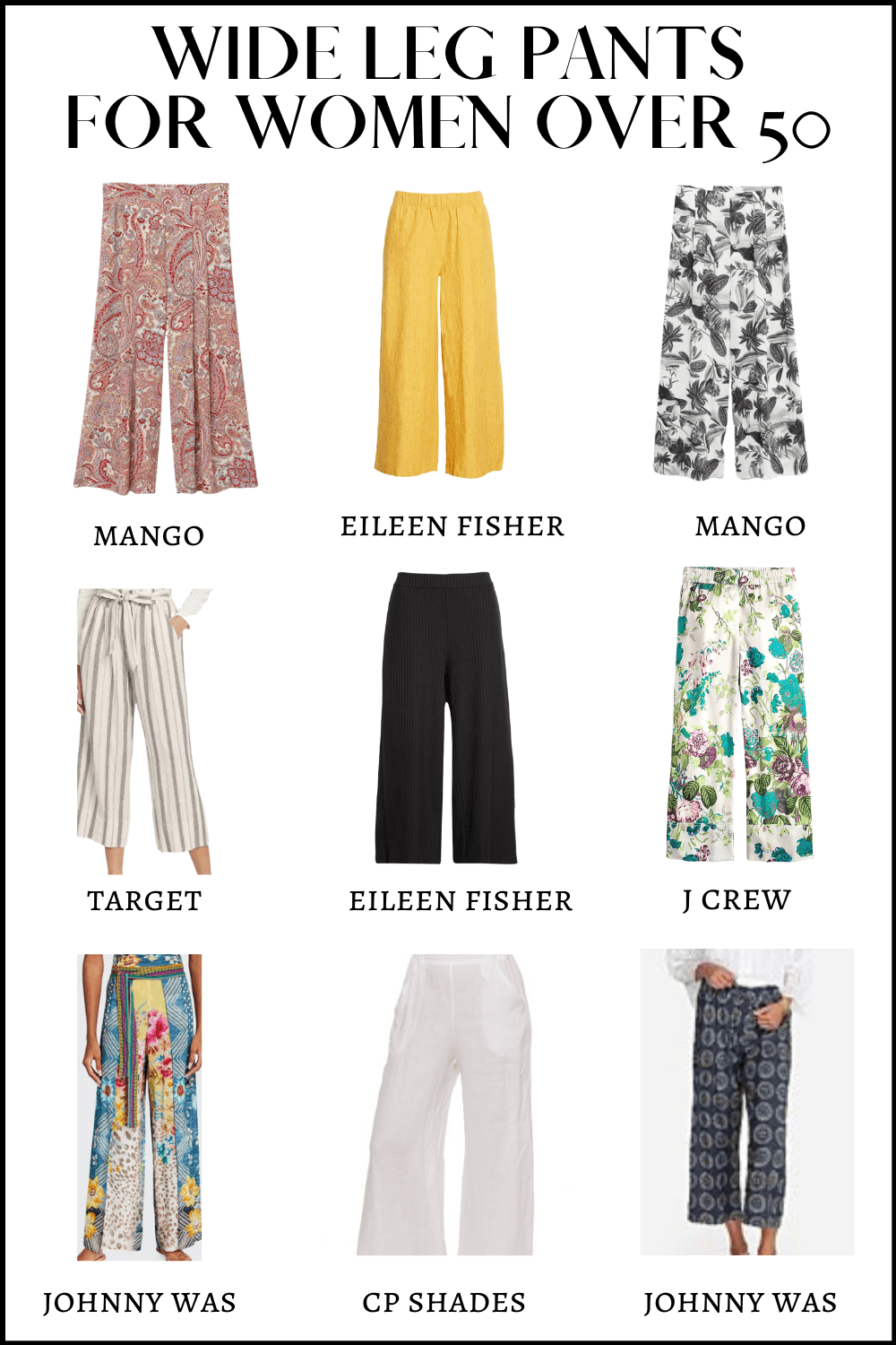 Wide Leg Pants for Women over 50