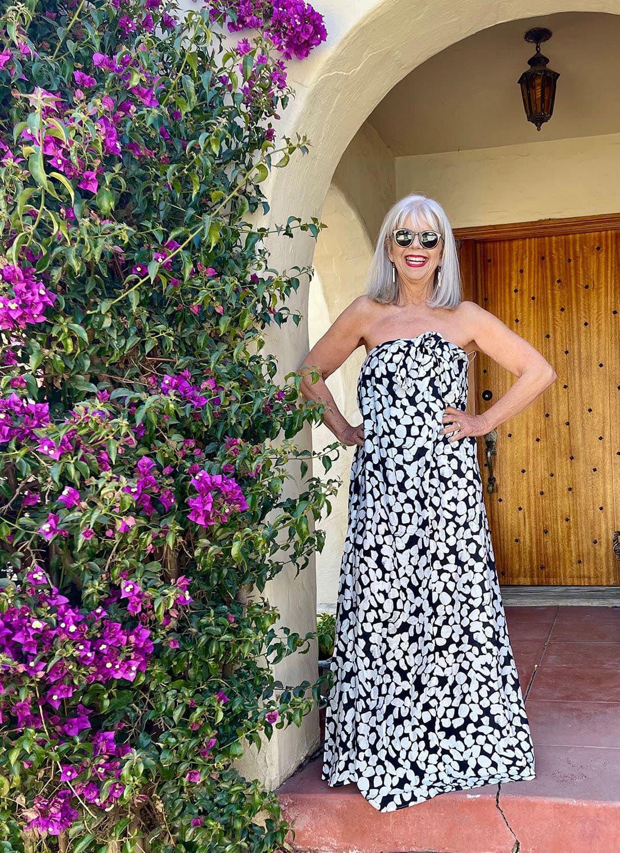 cindy hattersley in mango strapless dress