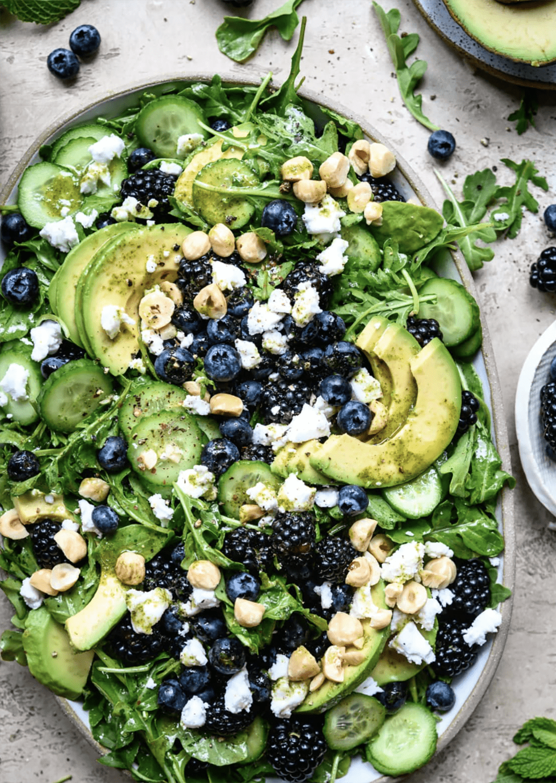 crowded kitchen blackberry avocado & arugula salad