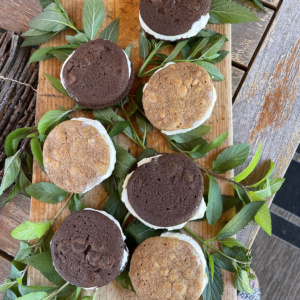 ice cream sandwiches with tate bake shop cookies and haagen daaz ice cream