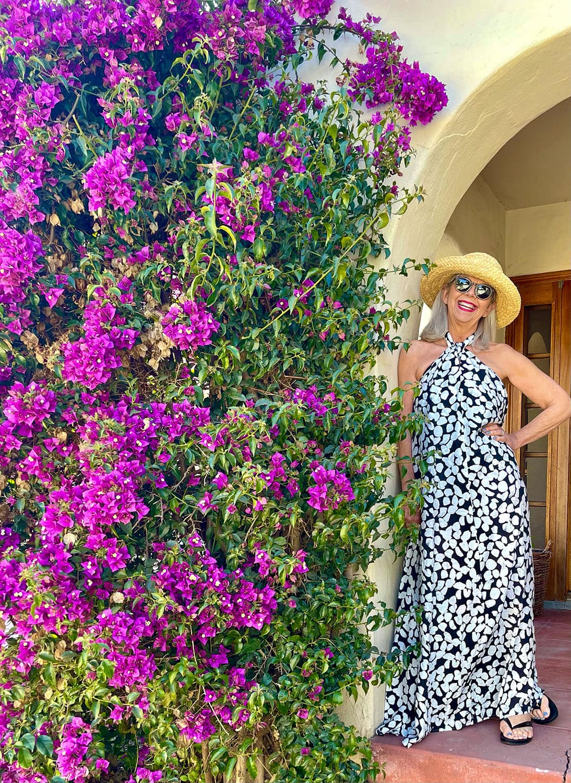cindy hattersley in mango halter dress and helen kaminski hat