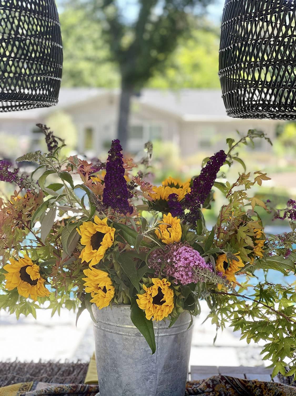 sunflower arrangement closeup