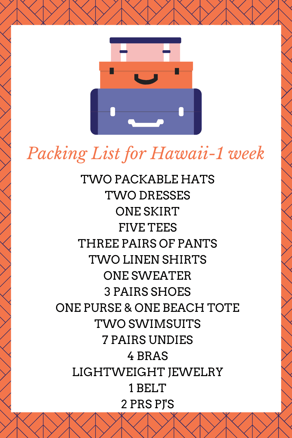 PACKING LIST FOR HAWAII