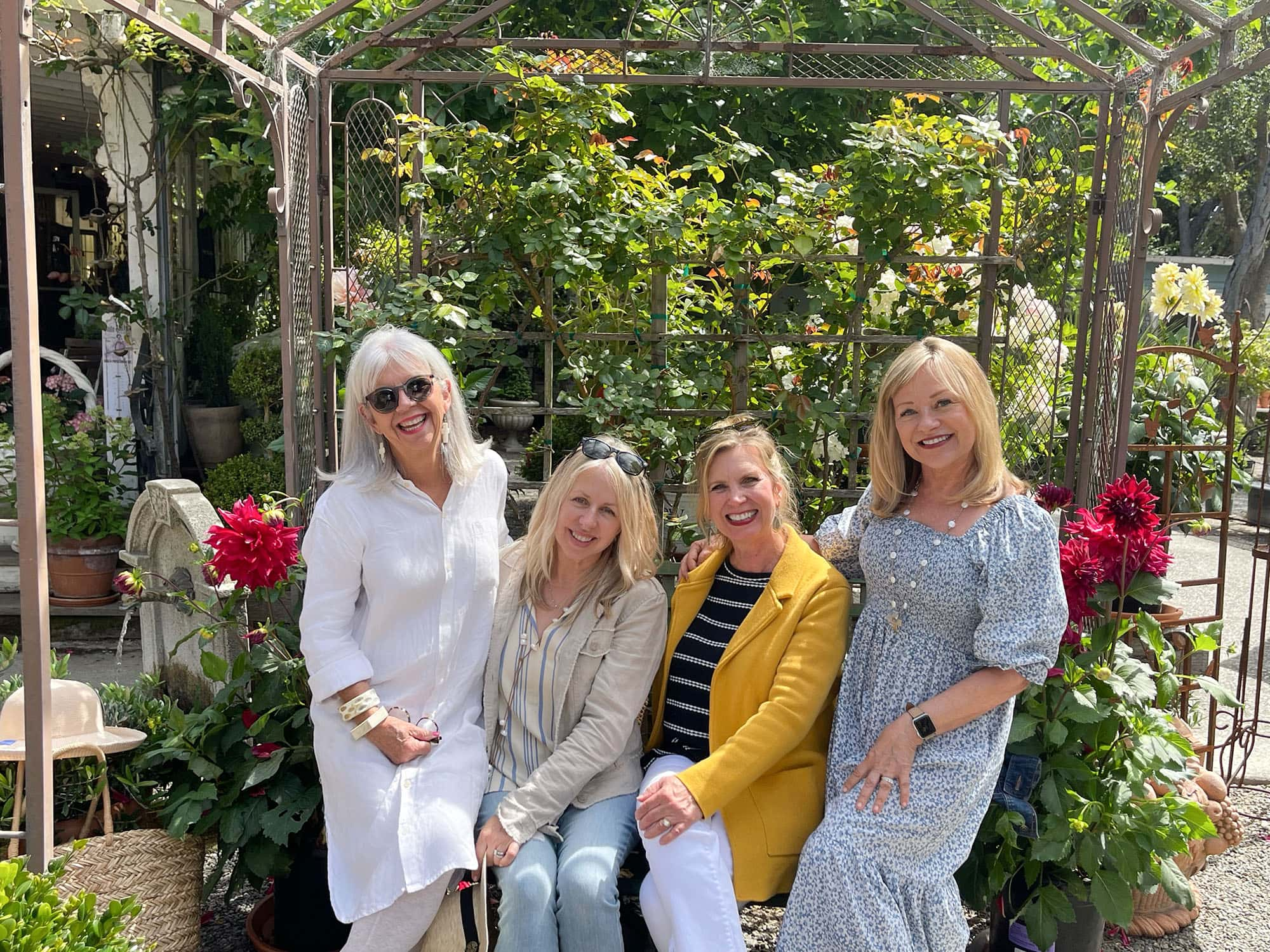 girls luncheon with cindy hattersley, mary ann from classic casual home, kim from Norcal Style and artist Heidi Woodmansee