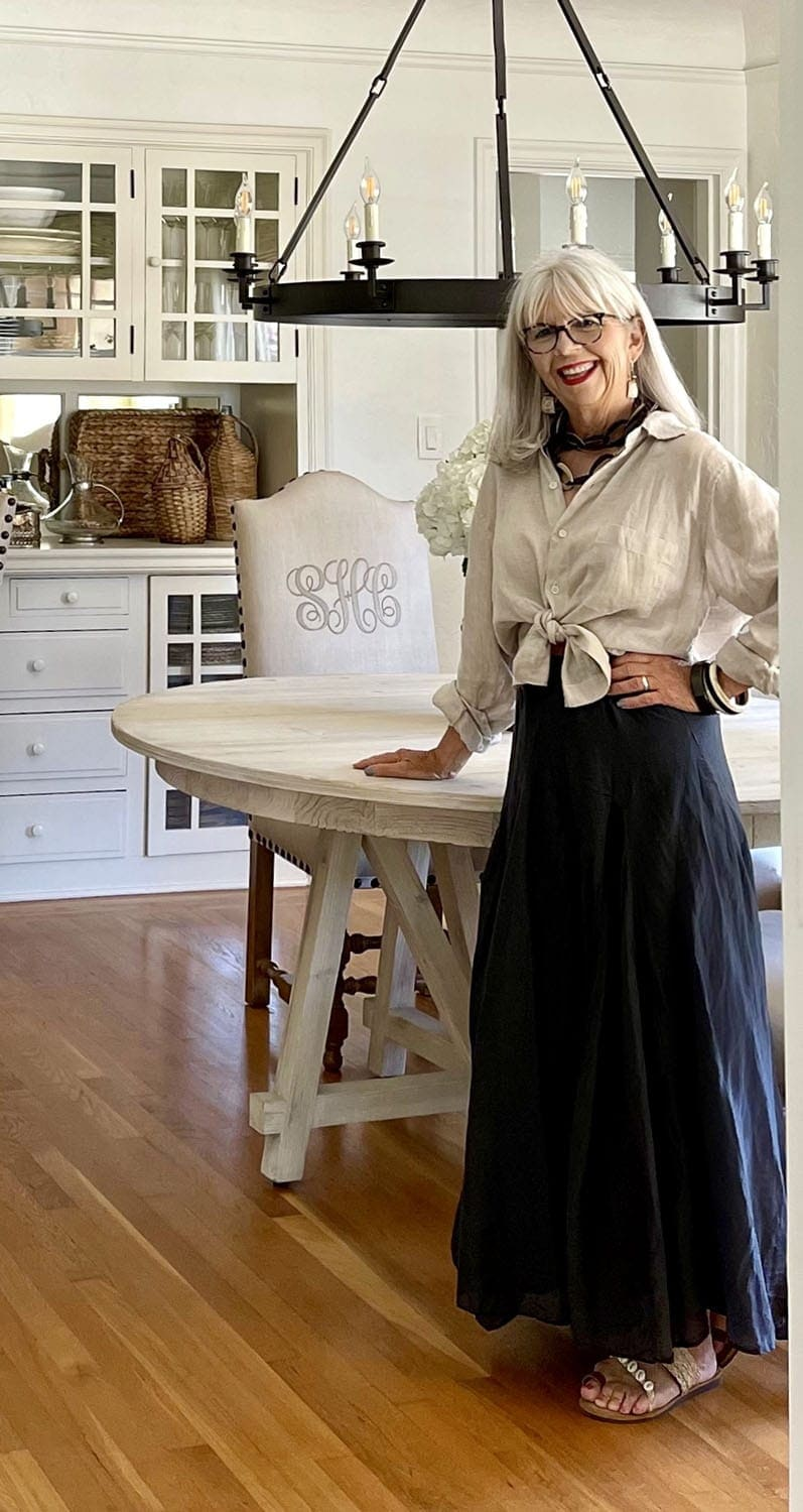 cindy hattersley in linen shirt and cp shades skirt & shirt